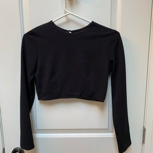 Cropped Black Shirt Blouse